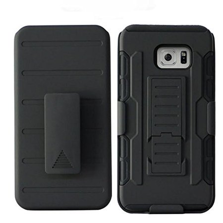size 40 03e82 ae13b Samsung Galaxy S6 Edge Plus Case, ShockProof Armor Hybrid Holster Shell  Combo Case for Galaxy S6 Edge Plus - Black