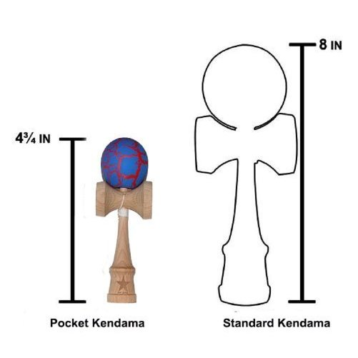 Pocket Size Blue/red Crackle Super Kendama, Micro Kendama, Mini Kendama, Japanese Wooden Toy, Free String, USA Seller