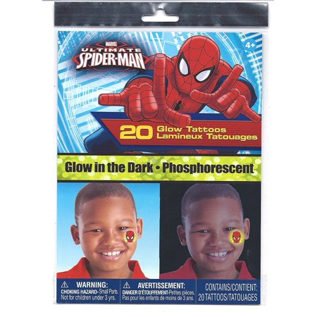 Spider-Man Glow in the Dark 20 Temporary Tattoos, Glow In The Dark By Marvel Comics - Glow In Dark Tattoo