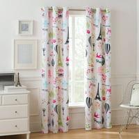 Mainstays Room Darkening Paris Girls Bedroom Single Curtain Panel