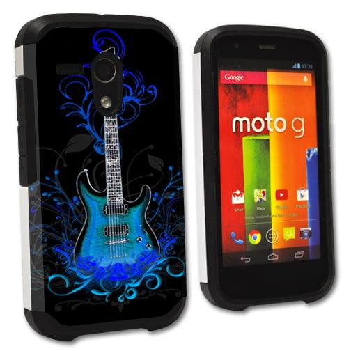 MightySkins Protective Bumper Case Cover for Motorola Moto G XT1032 hybrid tpu rubber plastic Guitar