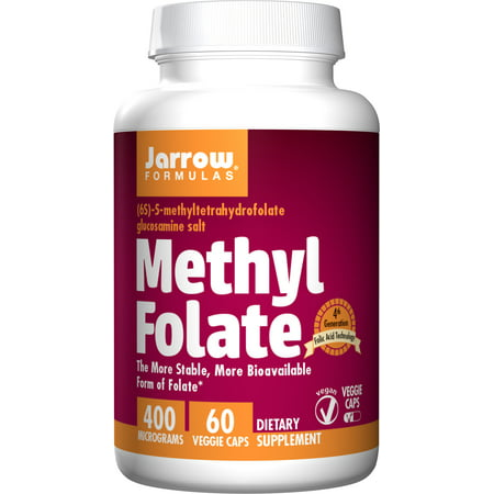 Jarrow Formulas Methyl Folate 5-MTHF, Supports Brain, Memory, Cardiovascular Health, 400 Mcg, 60 Caps
