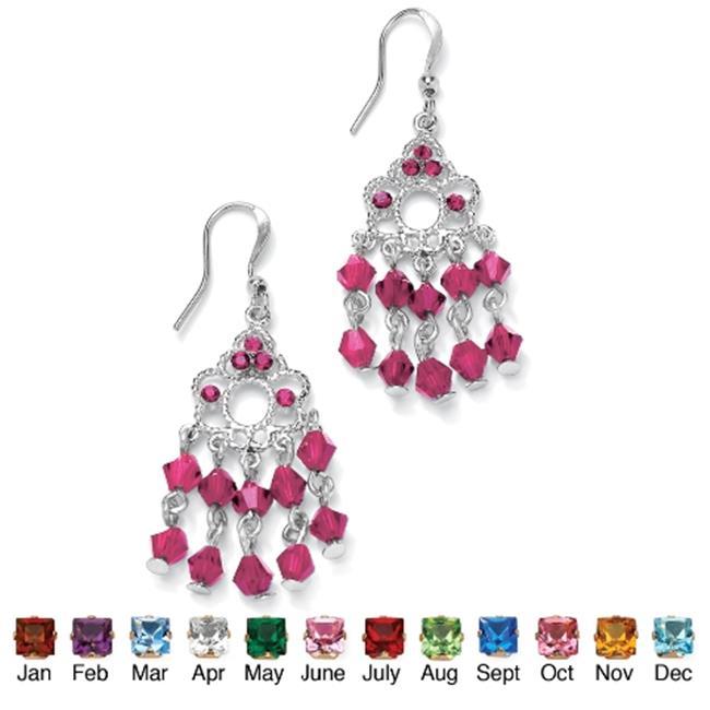 PalmBeach Jewelry 5057810 Silvertone Metal Birthstone Chandelier Pierced Earrings October - Simulated Tourmaline