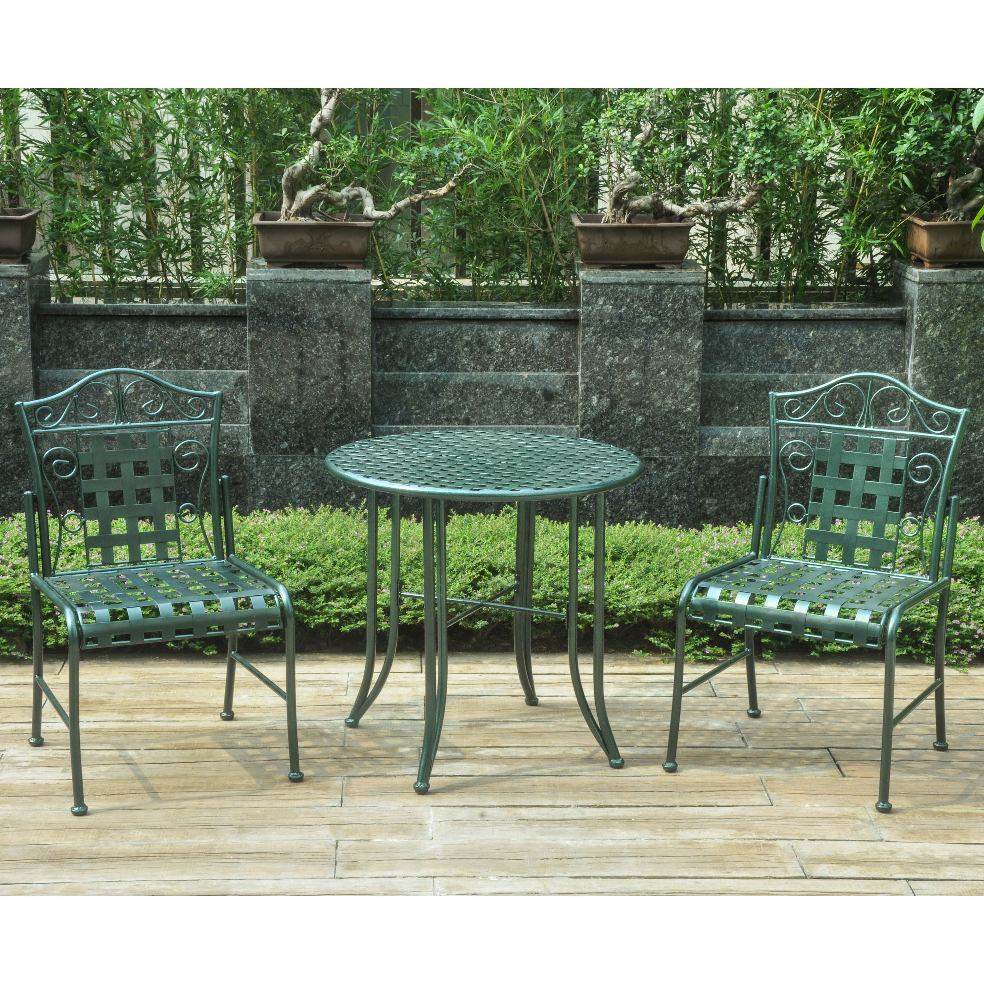 Perfect International Caravan Mandalay 3 Pc. Wrought Iron Patio Bistro Set