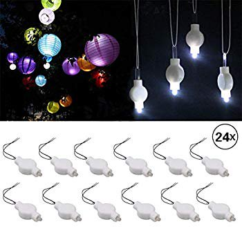 Led Lantern Lights,Cool White 24 Pack,LED Lights for Paper Lantern, Balloons,Weddings and Festival Decorations -Long Lasting, Waterproof ()