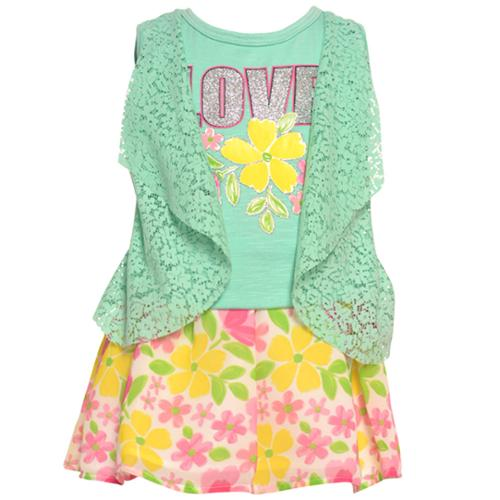 Real Love Little Girls Aqua Lace Flower Pattern 2 Pc Skirt Outfit 2T