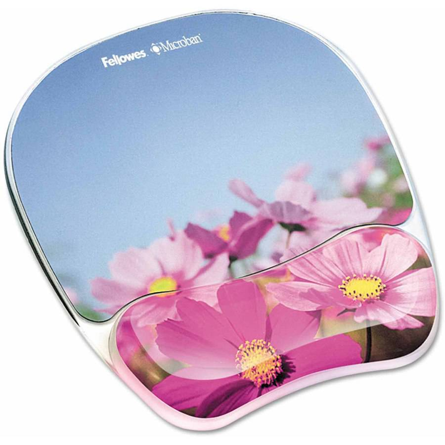 "Fellowes Gel Mouse Pad with Wrist Rest, Photo, 9-1/4"" x 7-1/3"", Pink Flowers"