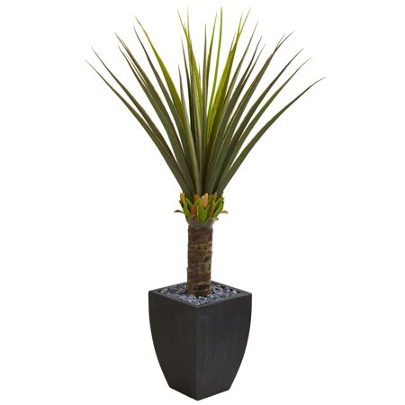 Nearly Natural Agave Artificial Plant in Black Planter