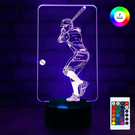Leo Stand - 3D Remote Night Stand Light, EpicGadget Touch Control Optical Illusion Visualization LED Night Light Lamp 7 Colors Changing Remote Control Night Light Lamp Stand (Baseball Player)