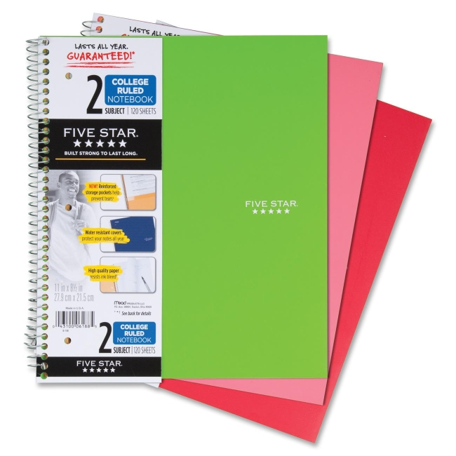 """Mead Wirebound 2-Subject Notebook - 120 Sheets - Printed - Wire Bound 8.50"""" x 11"""" - White Paper - Assorted Cover - Plastic Cover - Pocket Divider, Perforated - 1Each"""