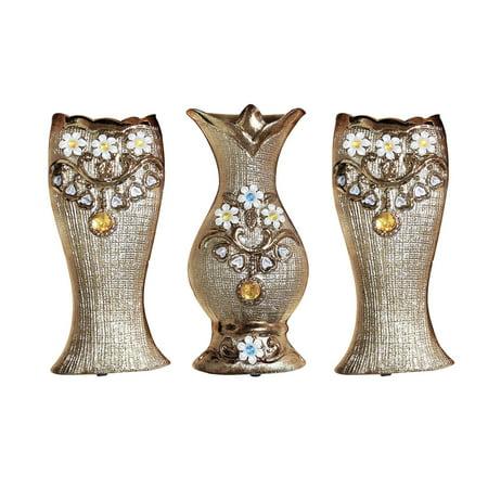 - D'Lusso Designs 3 Piece Textured Embossment Decorative Vase Set - Weave