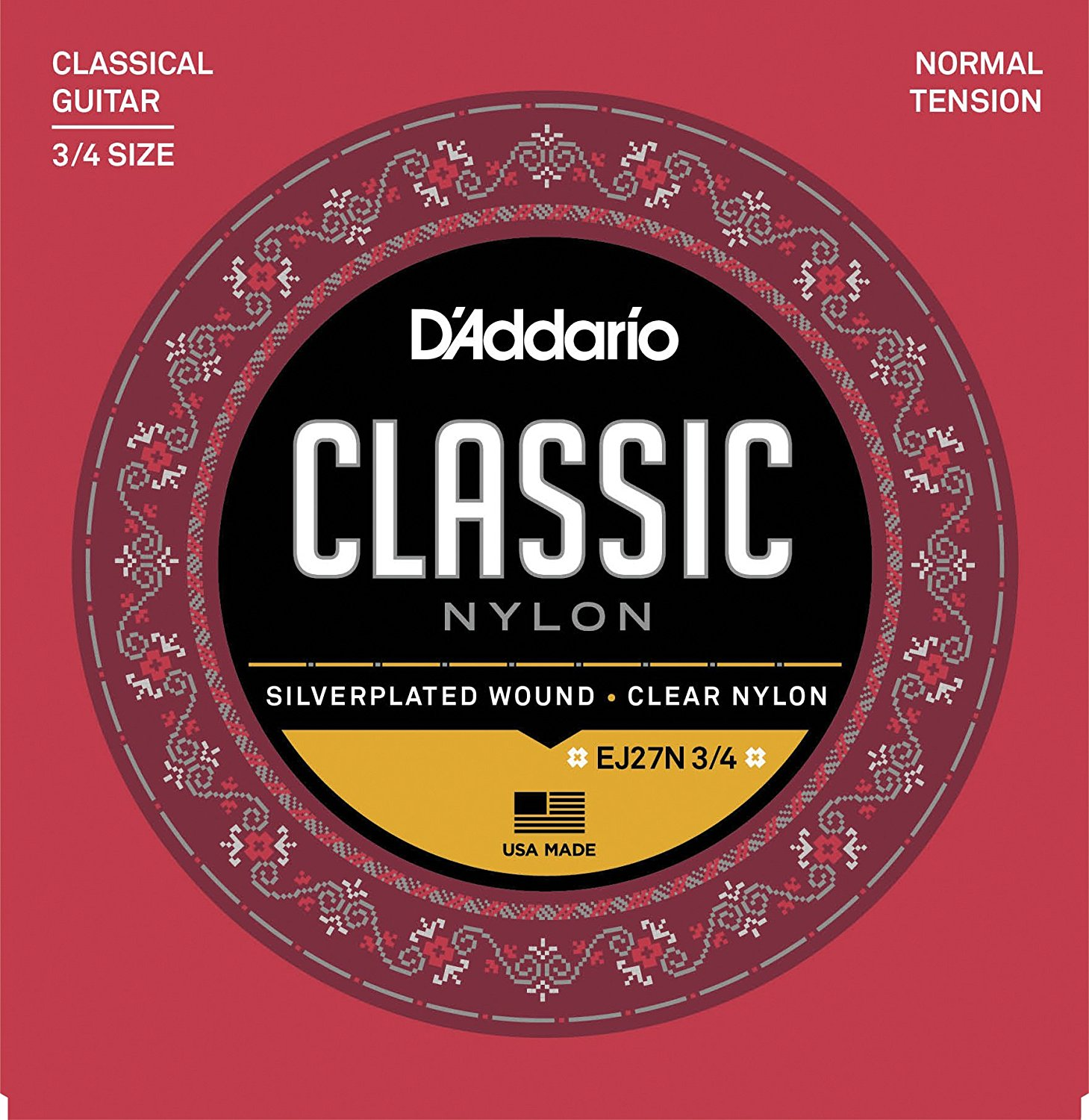 D'Addario EJ27N 3 4 Student Nylon Fractional Classical Guitar Strings, Normal Tension,... by