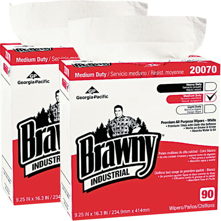 Brawny Industrial Medium-Duty Premium Wipes, 90 count, Bundle of 2