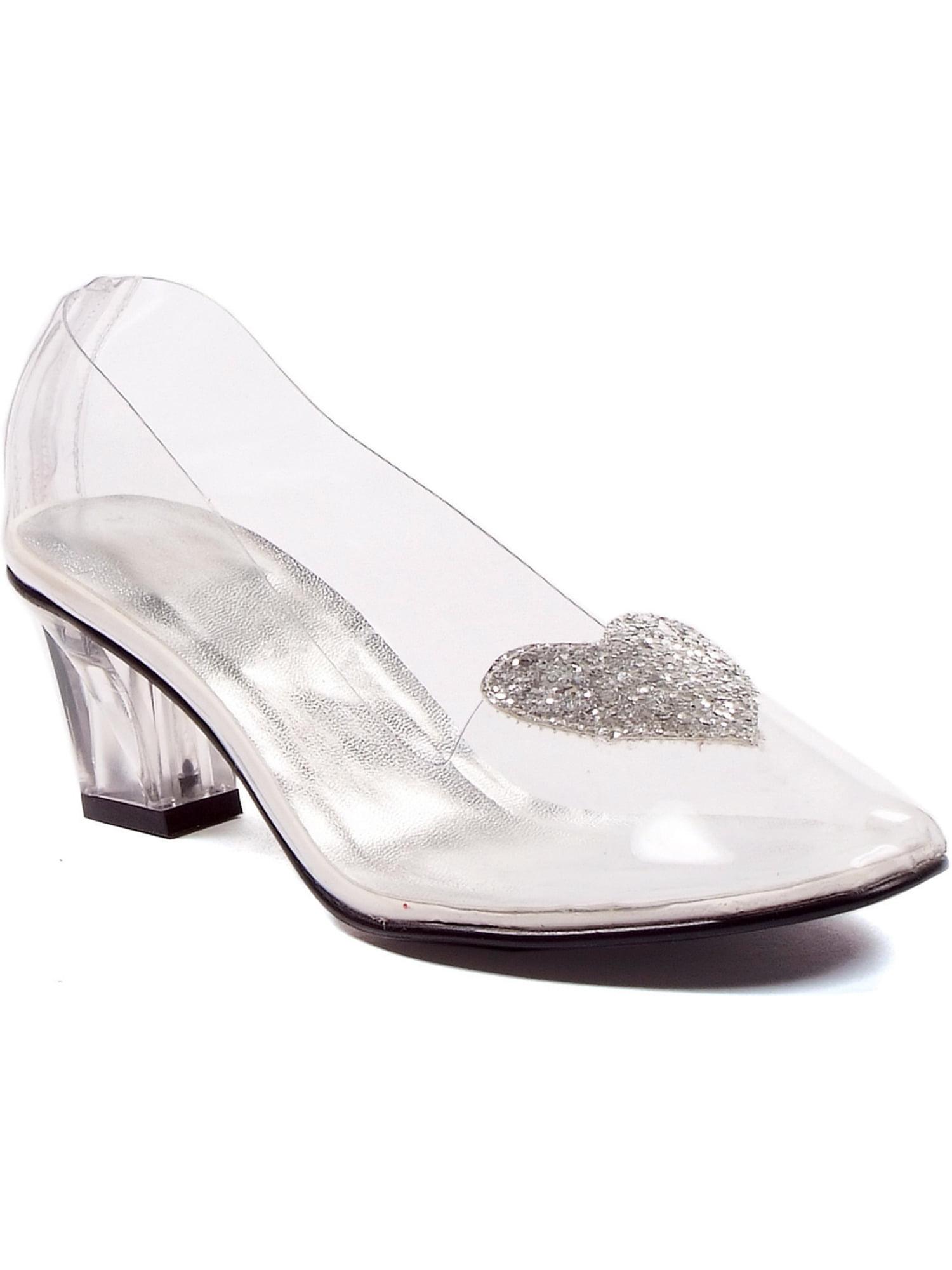 1031 Shoes Womens Sexy Clear Shoes Heeled Pump Slipper With Silver Glitter Heart Princess Walmart Com Walmart Com