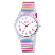 Zeiger Children Kids Watch, Young Girls Teen Student Time Teacher Watch Rainbow Striped Silicone Strap