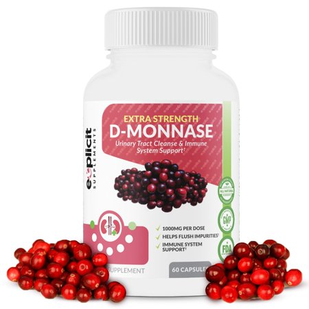 D-Mannose Capsules – Urinary Tract Cleanse & UTI Support – Fast Acting Digestive Cleanser – 1000mg Per Serving – eXplicit Supplements - 60 Capsules