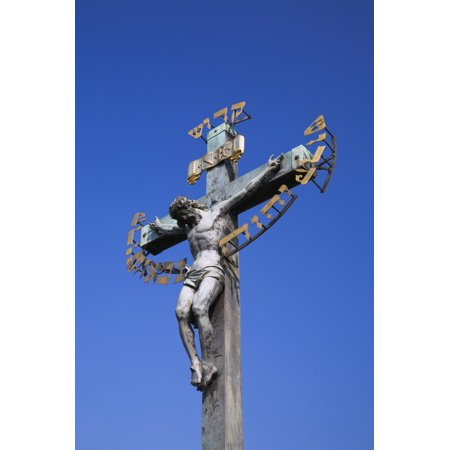 Statue Of Jesus On The Cross On Charles Bridge Prague Czech Republic Poster Print by Perry Mastrovito  Design Pics