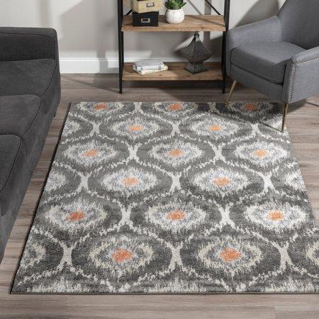 - Addison Rugs  Platinum Collection Moroccan Ikat Grey/Orange/Multicolored Indoor Rectangular Area Rug