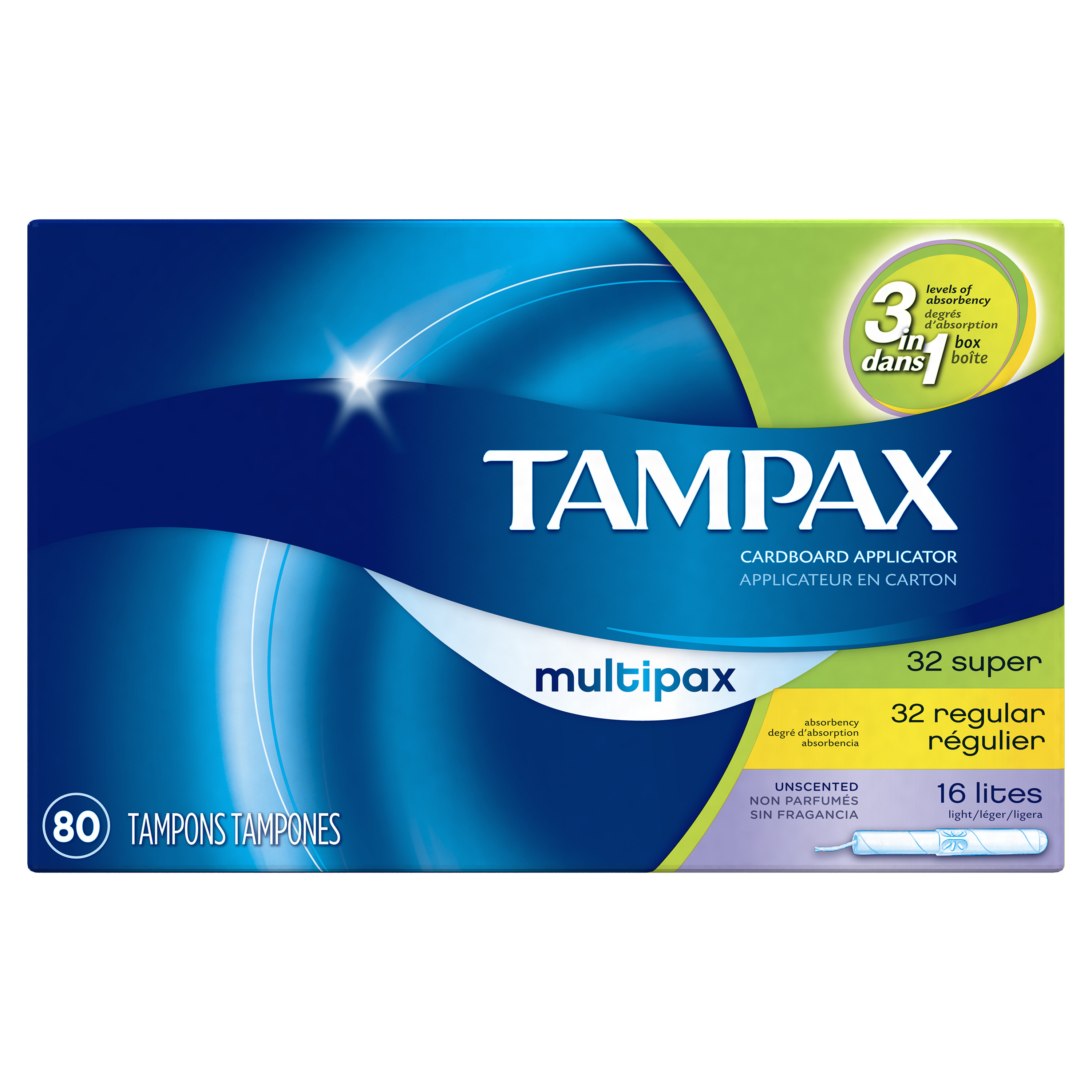 Tampax Cardboard Tampons, Light/Regular/Super Absorbency, Unscented (Choose Size and Count)
