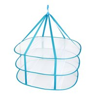 3 Layers Dry Rack Folding Flat Laundry Clothes Organizers Hangers Collapsible Sweater Baby Garments Dryer Net (Sky Blue)
