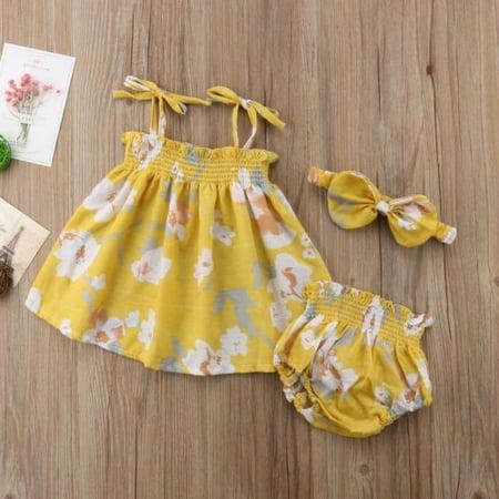 7cd3fb9fc3e23 2018 Newborn Baby Girls Floral Strap Yellow Clothes T-shirt Dress+Shorts  Pants+Headband Cute Summer Outfits