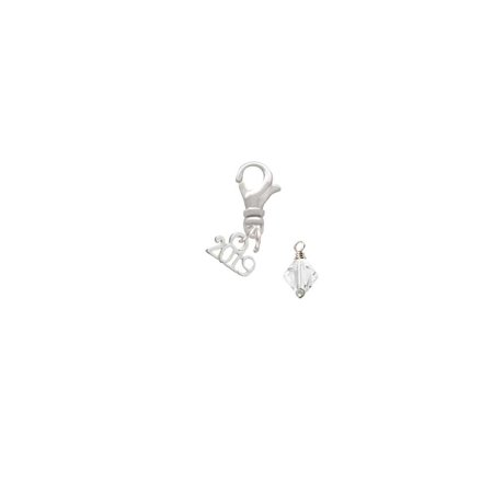 April - Clear - 6mm Crystal Bicone - 2019 Clip on Charm