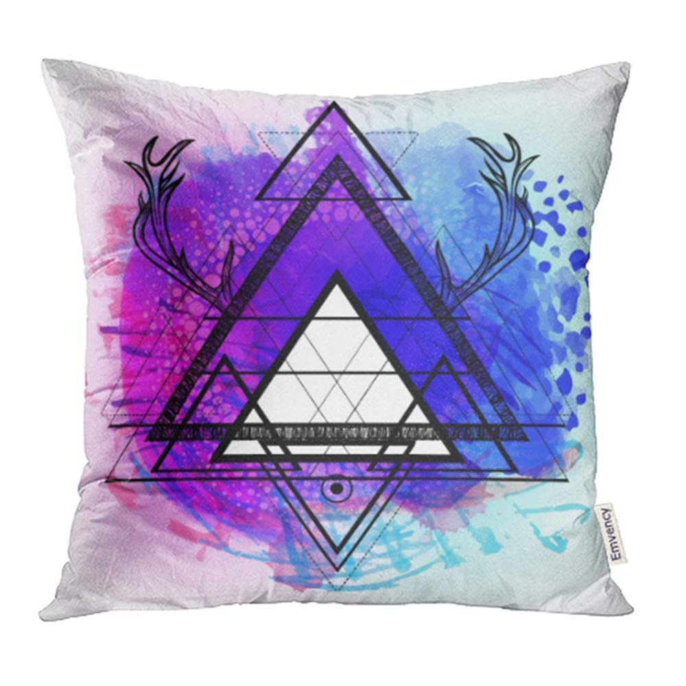 USART Hipster Mystic Sacred Geometry Boho Chic Magic Indigo Spaces Triangle Circle Dots Pillow Case Pillow Cover 18x18 inch Throw Pillow Covers