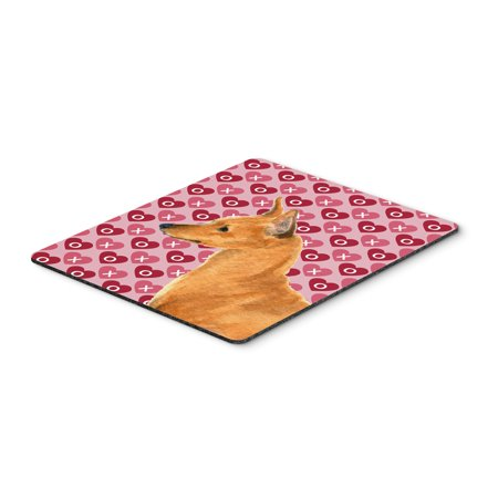 Min Pin Hearts Love and Valentine's Day Portrait Mouse Pad, Hot Pad or Trivet