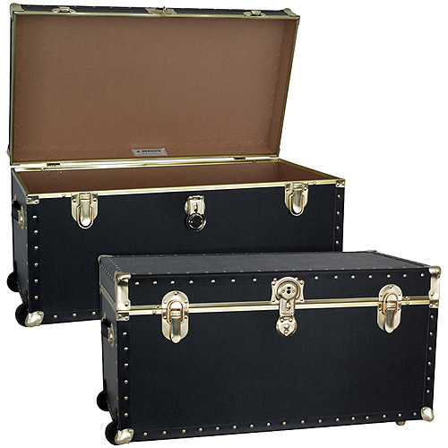 Seward Trunk Trailblazer Footlocker Trunk with Wheels 35 Gal. Wood Storage Box with Handles, Black