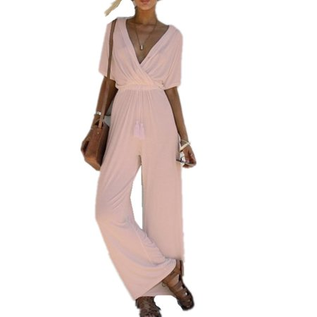 c384dda8616 DYMADE - DYMADE Sexy Wrap Deep V Neck Short Sleeve Wide Leg Jumpsuit With  Belt Loose Long Romper - Walmart.com