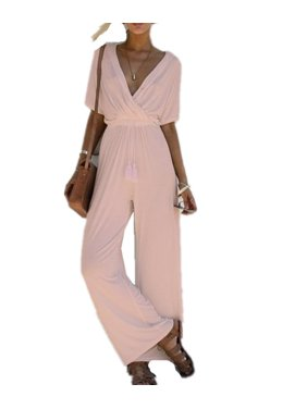 Product Image DYMADE Sexy Wrap Deep V Neck Short Sleeve Wide Leg Jumpsuit  With Belt Loose Long Romper 3bdf800b0