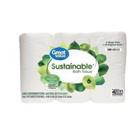 Great Value Sustainable Toilet Paper, 6 Rolls