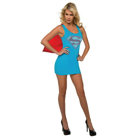 Womens Supergirl Tank Dress with Removable Halloween Costume Cape - Supergirl Womens Costume