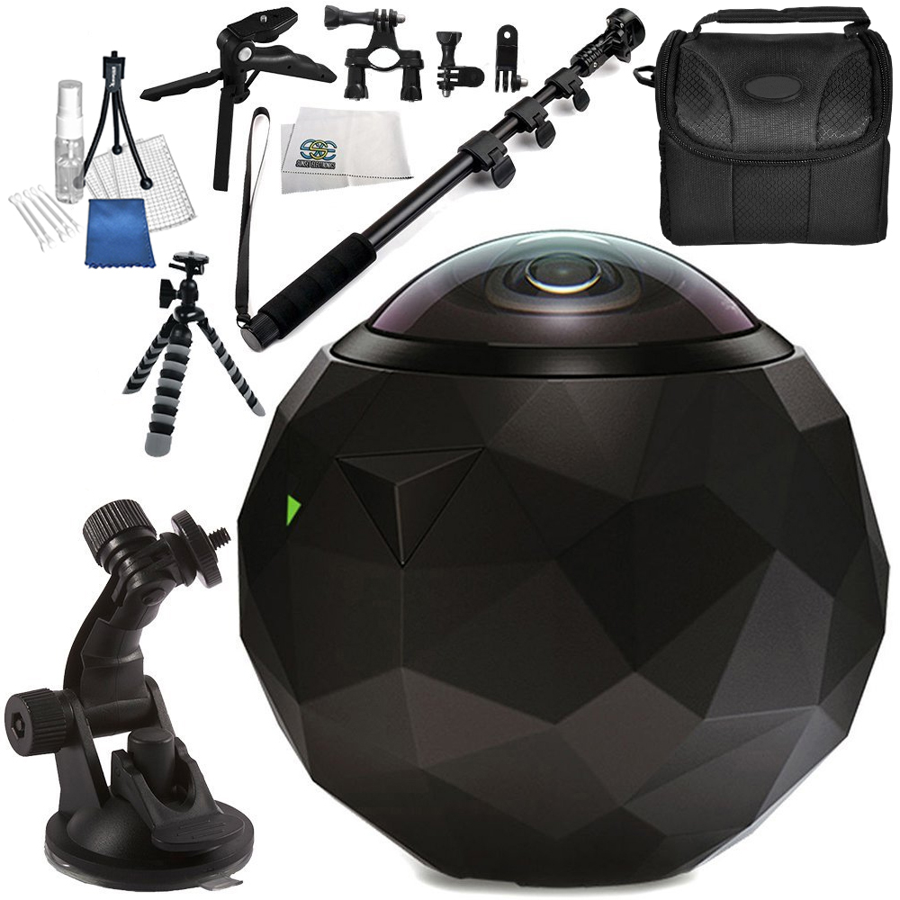 360fly HD Video Camera 10PC Accessory Bundle - Includes Manufacturer Accessories + Flexible Gripster Tripod + Carrying Case + Cleaning Cloth + MORE