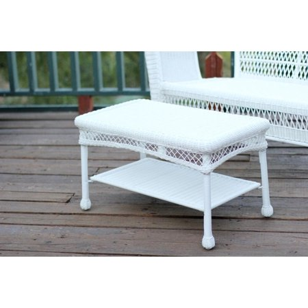 28 5 hand woven weather resistant white resin wicker outdoor patio coffee table White wicker coffee table