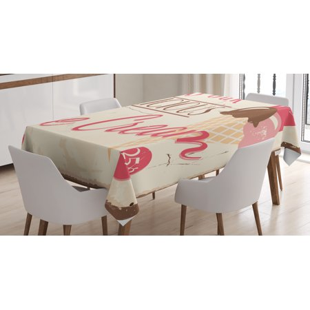 Ice Cream Table (Ice Cream Decor Tablecloth, Try Our Delicious Ice Cream Logo Pop Art Style Advertisement Graphic, Rectangular Table Cover for Dining Room Kitchen, 60 X 84 Inches, Pink Cream Umber, by)