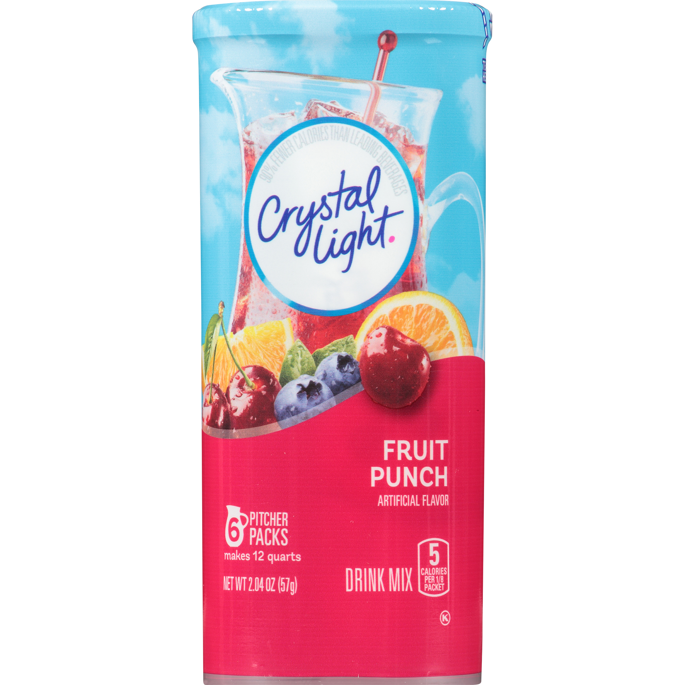 Crystal Light Drink Mix, Fruit Punch, 2.04 Oz, 6 Packets, 1 Count