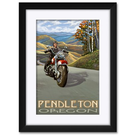Art Framed Art Prints (Pendleton Oregon Motorcycle Rider Framed & Matted Art Print by Paul A. Lanquist. Print Size: 12