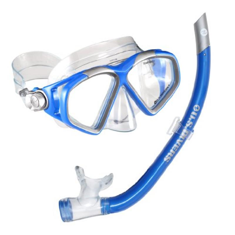 U.S. Divers Cozumel LX Mask and Airent Snorkel, Electric Blue by US Diver