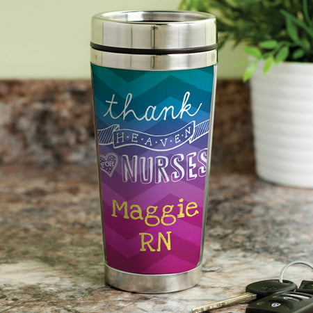 Personalized Thank Heaven For Nurses Travel Mug - Travel Mug Personalized