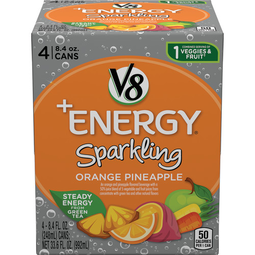 (24 Cans) V8 +Energy Sparkling Orange Pineapple, 8.4 Oz