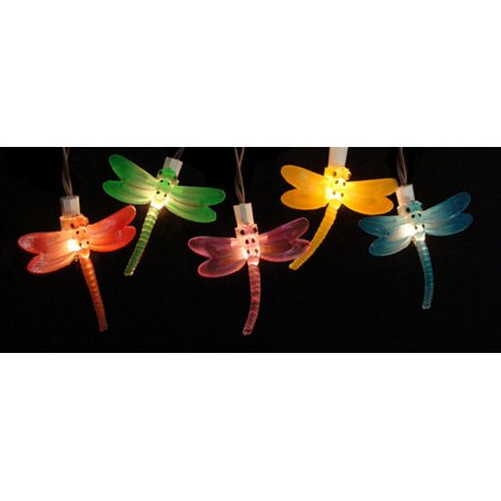 Set Of 10 Battery Operated Led Dragonfly Garden Patio