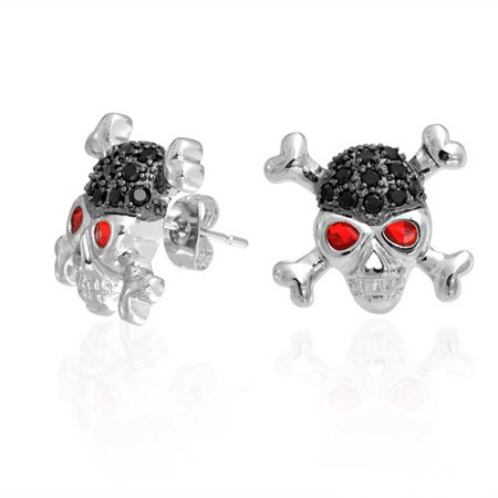 Pirate Earrings For Men (Black White CZ Red Eye Caribbean Pirate Skull Cross Bones Stud Earrings For Women For Men Silver Plated)