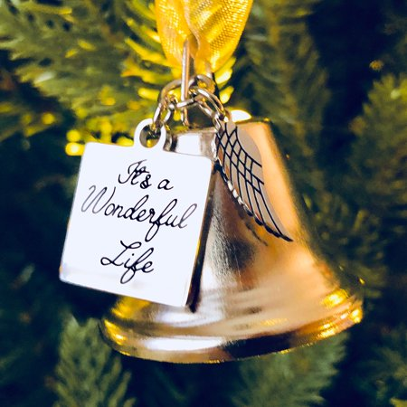 - It's a Wonderful Life Inspired Christmas Angel Bell Ornament with Stainless Steel Angel Wing Charm. New Larger Size and Now Comes with 2 Interchangeable Ribbons.
