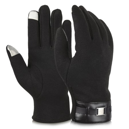 Vbiger Cold Winter Warm Thick Gloves Touch Screen Gloves Cycling Gloves for Men, - Black Lighting Gloves