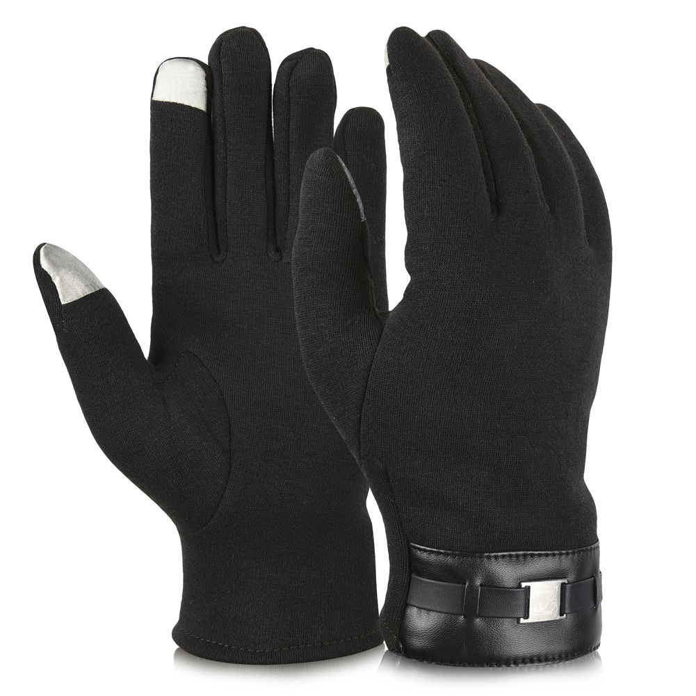 Vbiger Cold Winter Warm Thick Gloves Touch Screen Gloves Cycling Gloves for Men, Black
