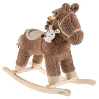 Rocking Horse Ride-on Toy with Friend-Childrens Soft Fabric Covered Wooden Rocker-Adorable Neutral Design-Fun for Boys and Girls by Happy Trails