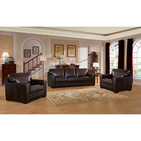 Amax Leather Chatsworth Top Grain Leather 3 Piece Sofa and Armchair