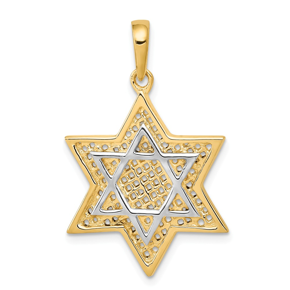 14k Two Tone Gold Solid Open-Back Meshed Star of David Charm (1.2in long x 0.8in wide)