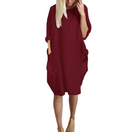 Women Casual Solid T Shirt Dress Summer Loose Dresses with Pocket Plus Size